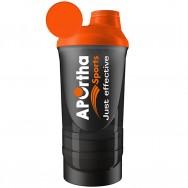 Aportha Sports Black Shaker - 500 ml + 2 Zusatzbehältern